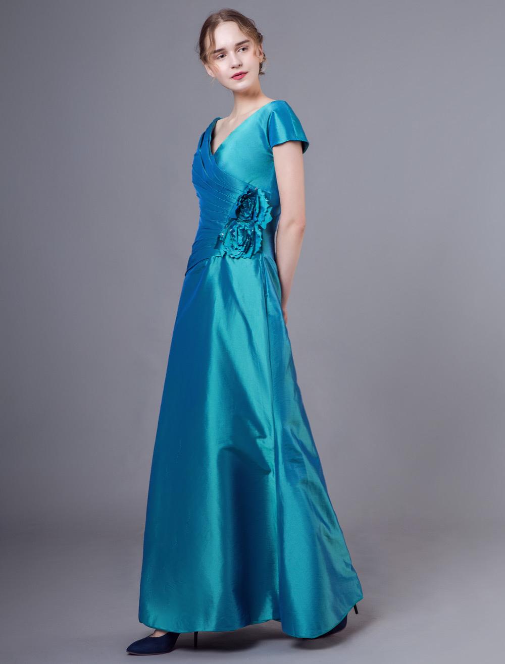 brautmutterkleider a-linie- abendkleider für hochzeit taft günstige  abendkleider blaugrün hochzeit kurzarm v-ausschnitt knöchellang mit  schnürung