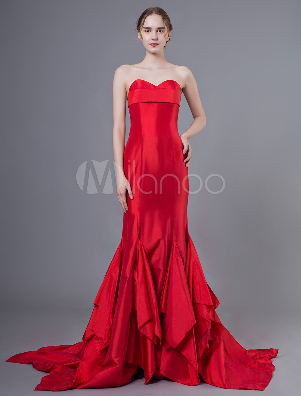 39fedccb4a3 Red Strapless Mermaid Evening Dress
