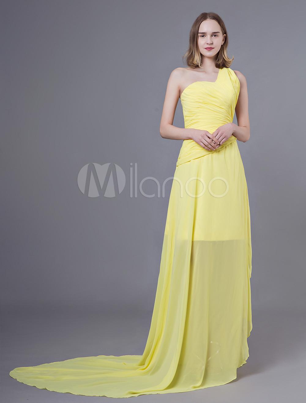 0e7425e9401 Prom Dresses Long Chiffon Daffodil One Shoulder Asymmetrical Bridesmaid  Dress-No.1 ...