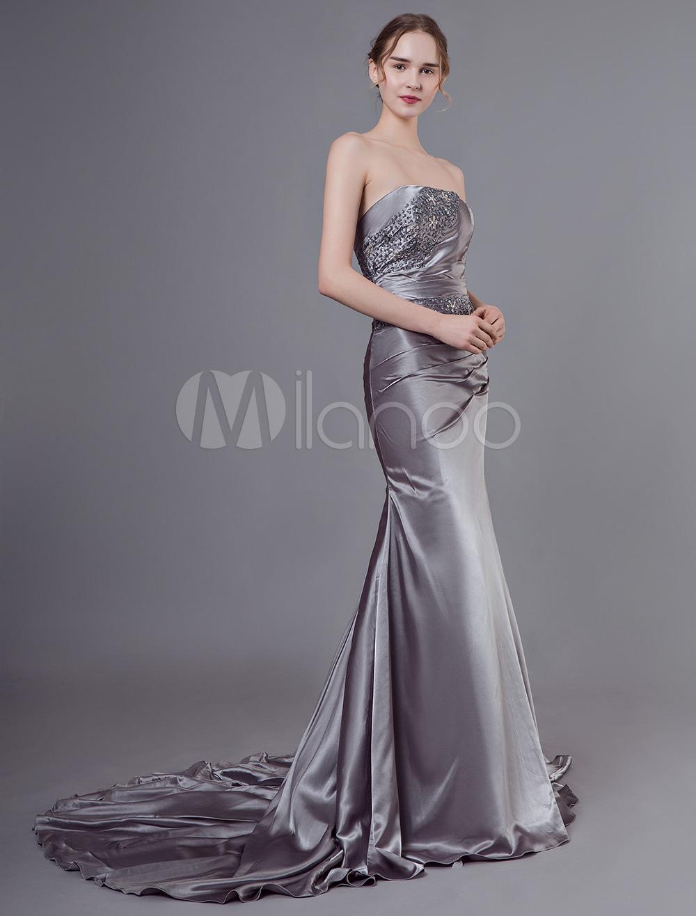 abendkleider trägerlos hochzeit ärmellos günstige abendkleider grau  formelle kleider elastische kunstseide mermaid- mit schnürung