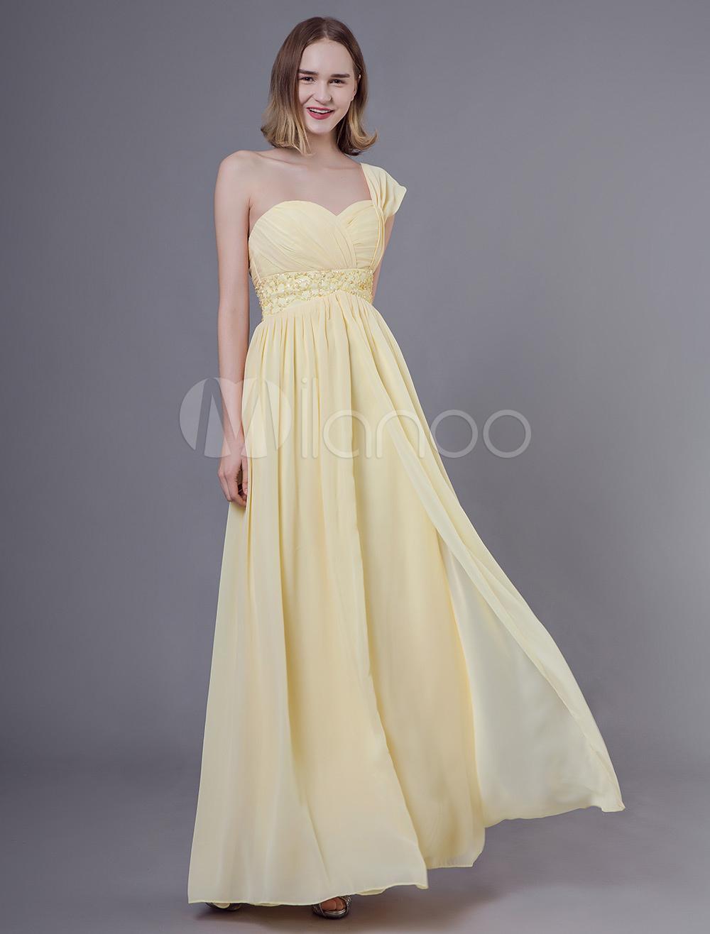 01d655e2da9 Bridesmaid Dresses One Shoulder Daffodil Chiffon Beaded Floor Length  Wedding Party Dress-No.1 ...
