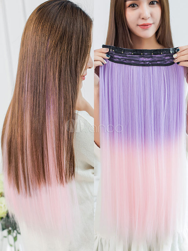 1867c4928 Color Hair Piece Hair Extension Strip Wig Piece Halloween Party Cosplay Wig-No.1  ...