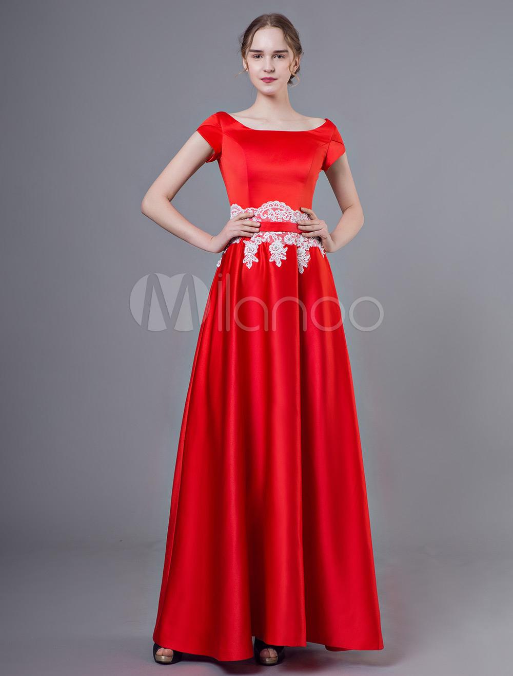 Abendkleider mit Rundkragen Hochzeit A-Linie- Günstige Abendkleider  Satingewebe Formelle Kleider Kurzarm und Reißverschluss Rot bodenlang Bilder