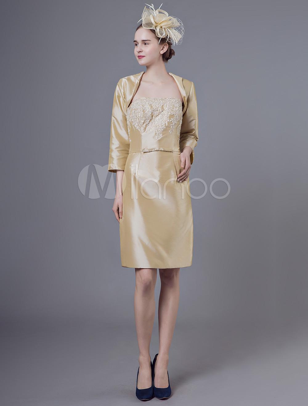 c925b6d69c5 ... Robes Mère Outfit Taffetas Applique Gaine Court Longueur Au Genou Robe  De Mariage Bustier Avec Bolero ...