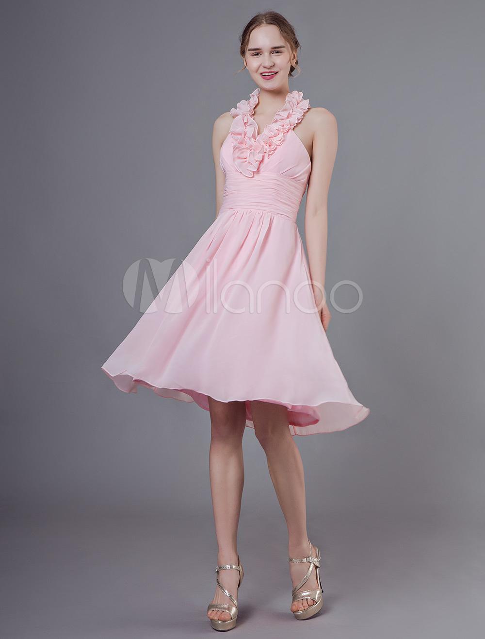 new style 357ee 17923 Abiti da damigella d'onore brevi Abito da cerimonia nuziale al ginocchio in  chiffon rosa lavorato a pieghe