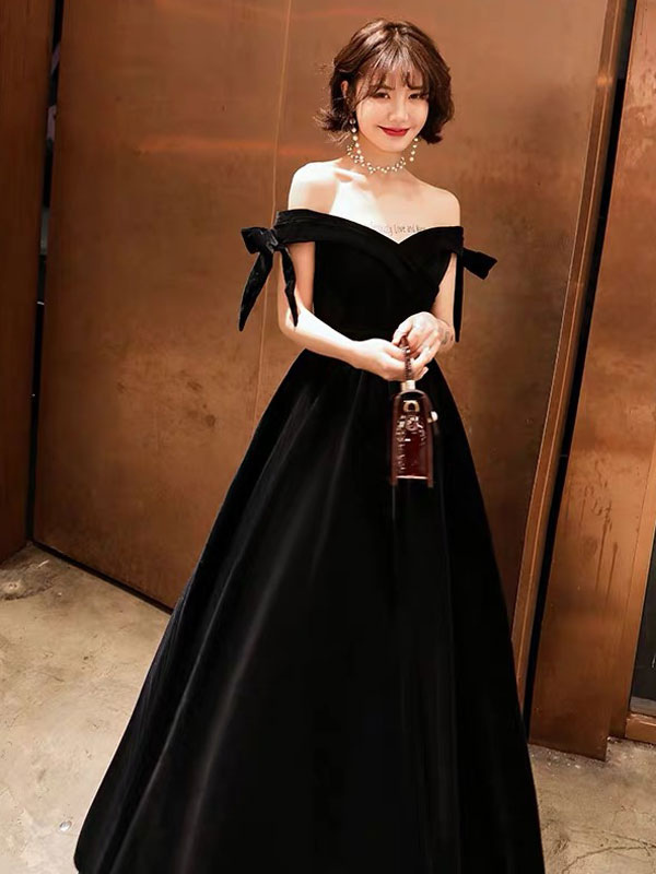 1075b613004e1 ... Prom Dresses Long Velvet Off Shoulder Bows Black Floor Length Formal  Gowns-No.2 ...