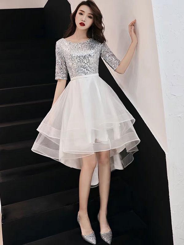 mejor amado 46312 67b81 Vestidos de coctel 2019 Sequin Media manga Asimétrico formal Vestido de  fiesta