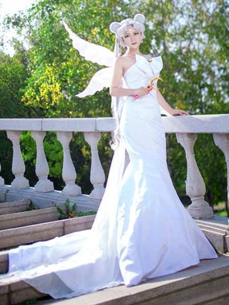 Sailor Moon Cosplay Princess Serenity Cosplay Dress Bow White ...
