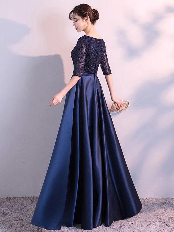42b2b15eeff ... Вечерние платья Темно-синее длинное платье для выпускного вечера  Кружевное атласное бант с длинным рукавом ...