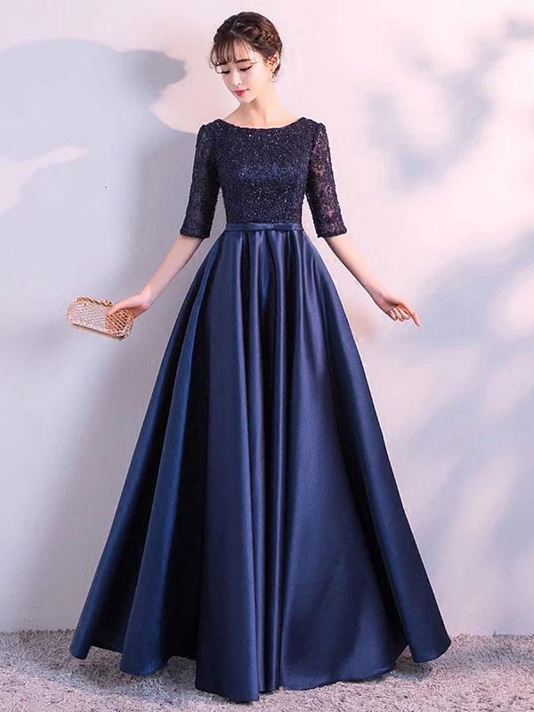 a88a588e9d6 Вечерние платья Темно-синее длинное платье для выпускного вечера Кружевное  атласное бант с длинным рукавом ...