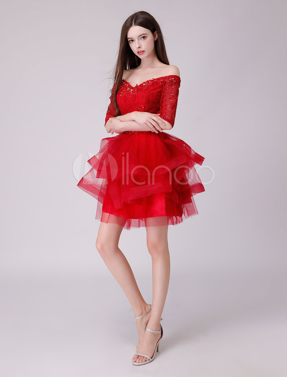 8013377a41 ... Short Homecoming Dresses Off The Shoulder Lace Tulle Beaded Tutu Prom  Dress-No.2 ...