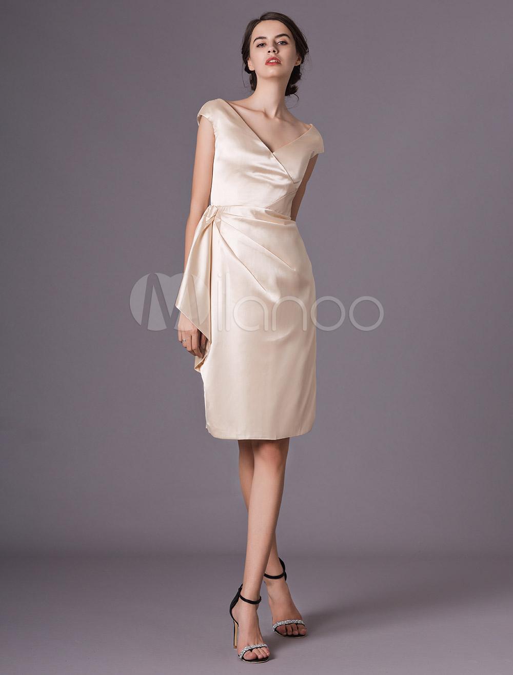 Hochzeitsgast Kleid Champagner Satin V Ausschnitt Mantel Kurz Mutter Der Braut Kleid Milanoo Com