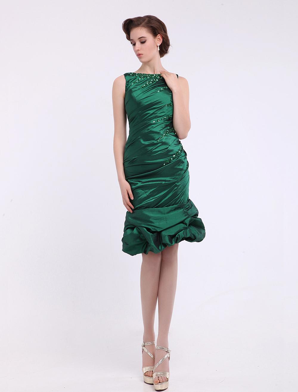 grüne hülle bateau hals sicke taftkleid für die brautmutter hochzeitsgast  kleid milanoo