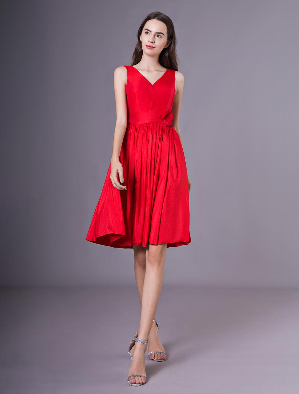 Cocktail Party Kleider rot V-Ausschnitt Taft Blume Hochzeitsgast Kleid