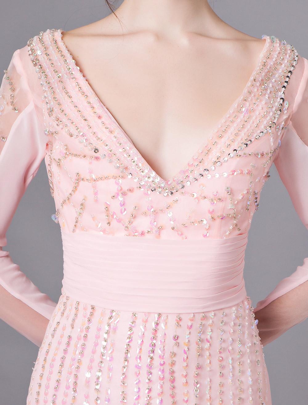 rosa mantel v-ausschnitt friesen lange Ärmel organza cocktailkleid  hochzeitsgast kleid milanoo