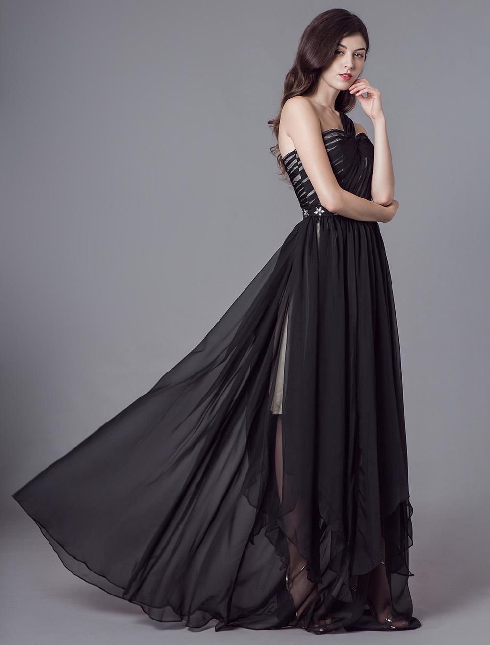 Schwarze Ballkleider eine Schulter Chiffon verdreht bodenlangen Abendkleider