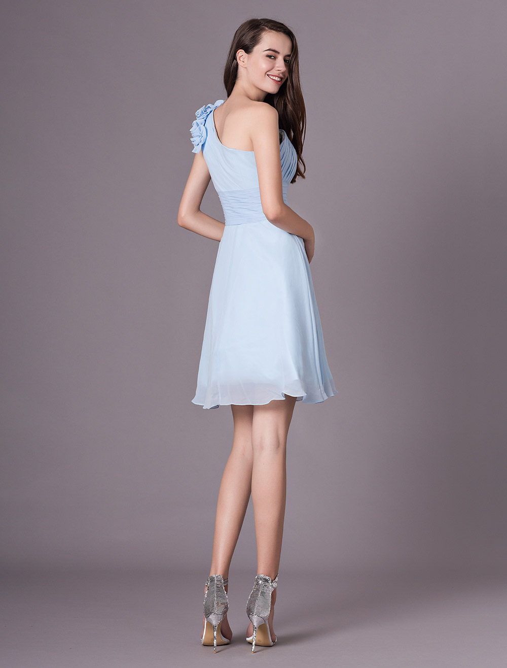 3289aa3c5 ... Chiffon Bridesmaid Dress Baby blue One Shoulder Knee Length Flowers  Prom Dress-No.4 ...