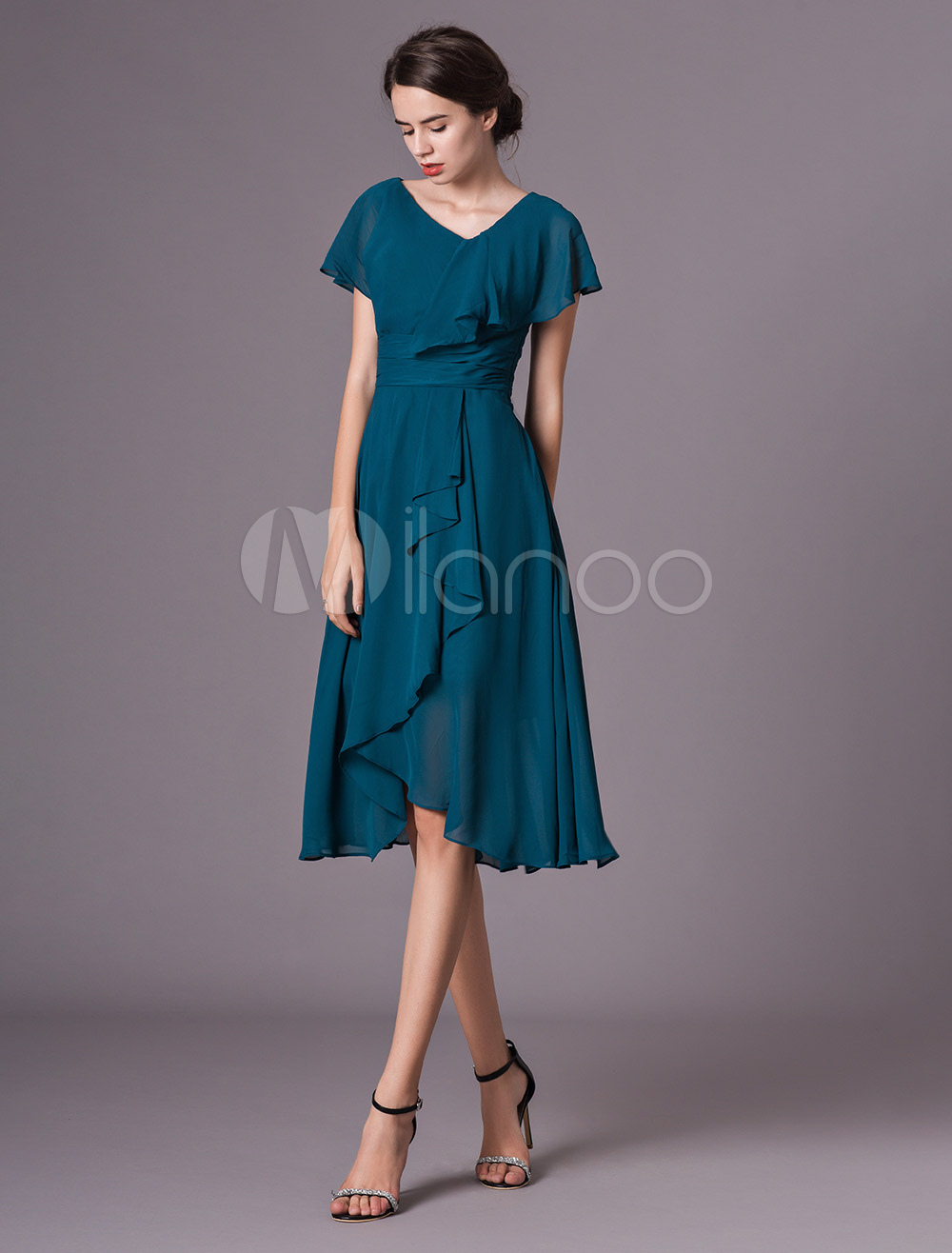 Wedding Guest Dress Ink Blue Short Sleeve V Neck Chiffon Ruffles Mother Dress