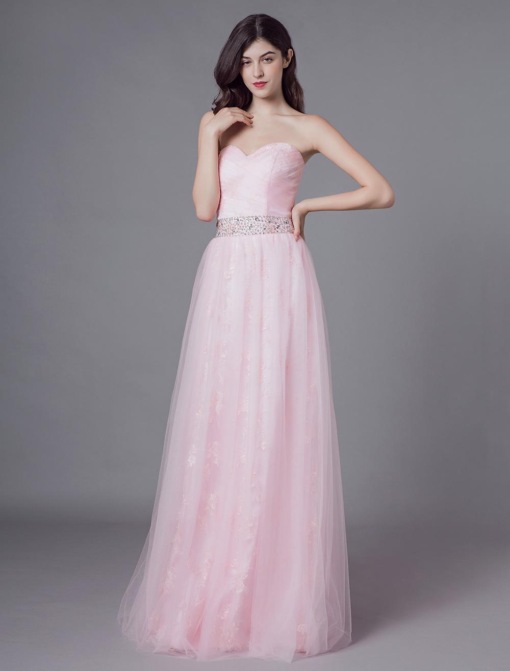 e9772e6a74b4 Abiti da sera Lungo Tulle Morbido rosa senza spalline Perline Maxi abito da  festa formale - Milanoo.com