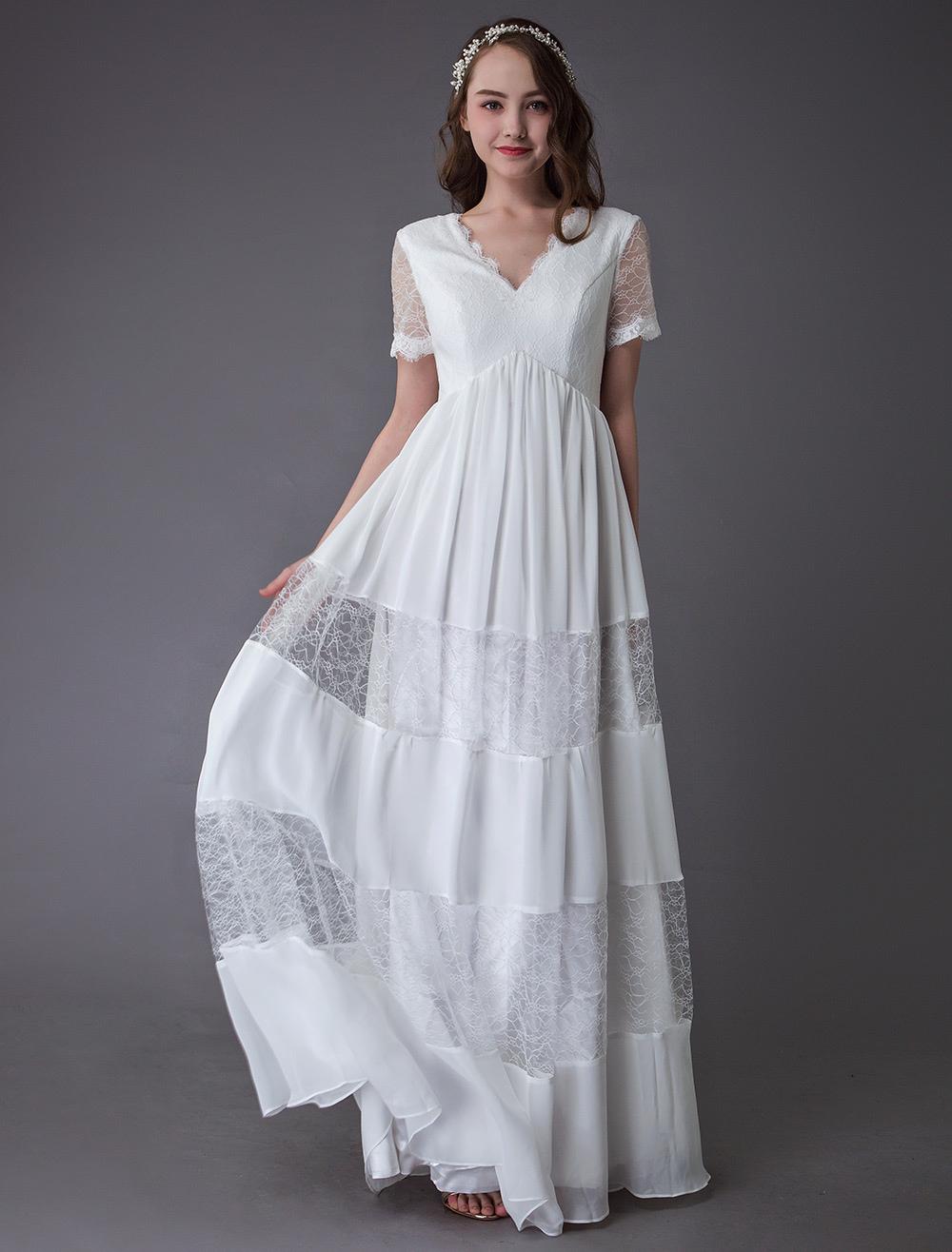 Boho Wedding Dresses Lace Chiffon Patchwork Ivory Short Sleeve