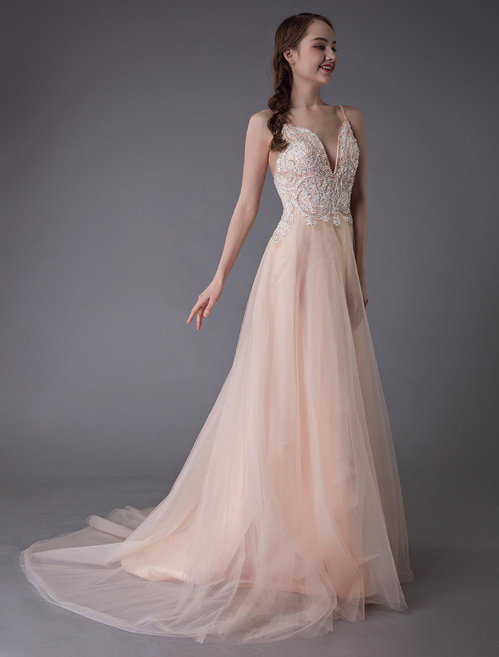 a basso prezzo 957a1 70cc5 Abito da sposa colorato 2019 Morbidi abiti da sposa rosa abito da sposa in  tulle cinghie scollo a V una linea abiti da ballo