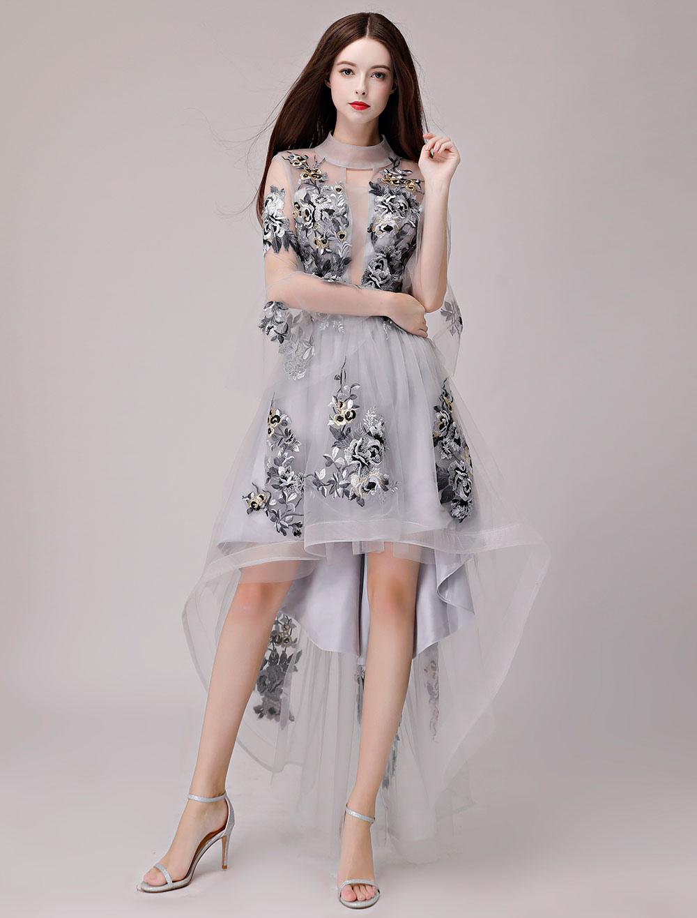 Cocktailkleider Spitze Applique Asymmetrische Tüll Abschlussfeier Kleid