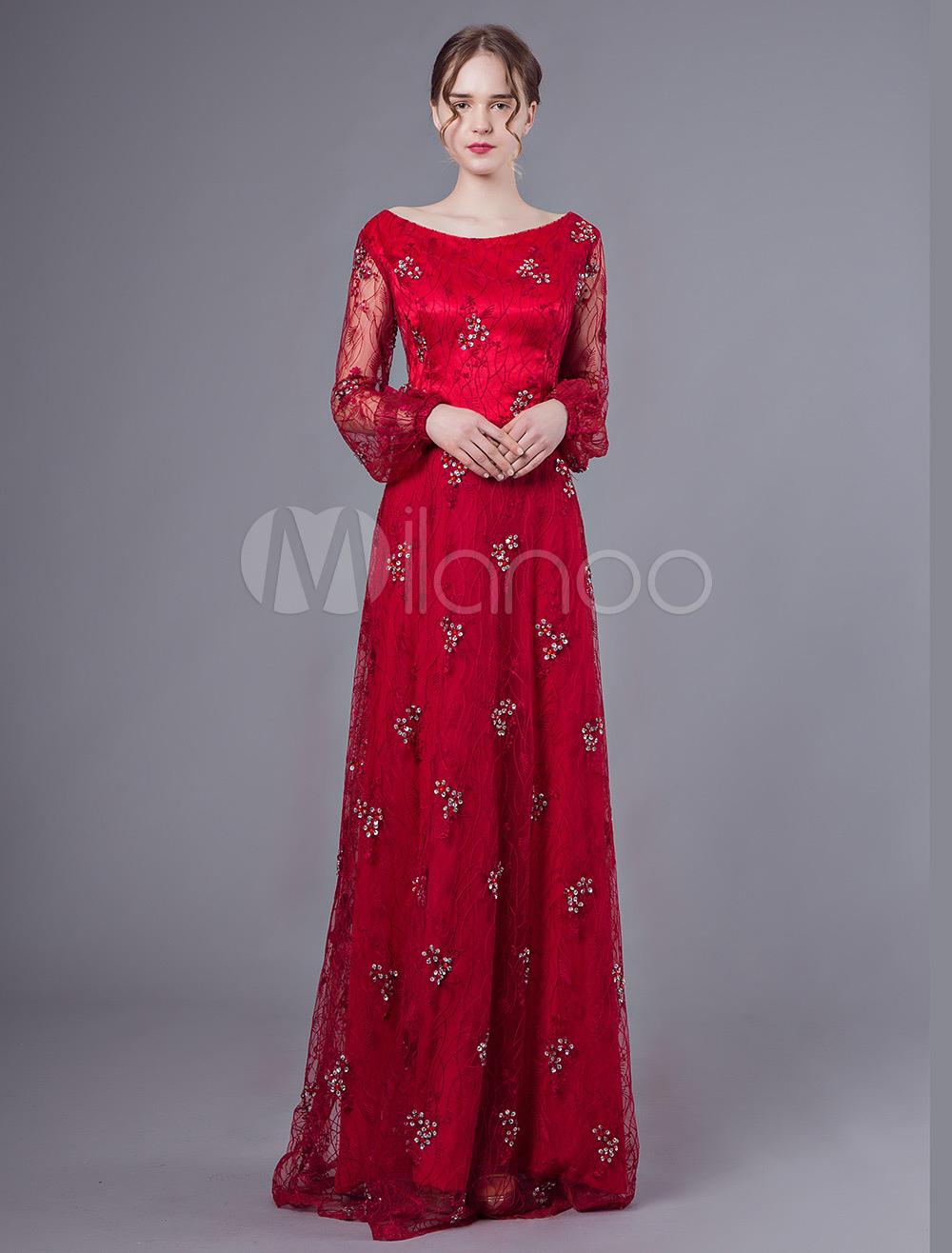 ba92b4f7eeafc ドレス長袖赤いレースのビーズの床の長さのフォーマルドレスの母 ...