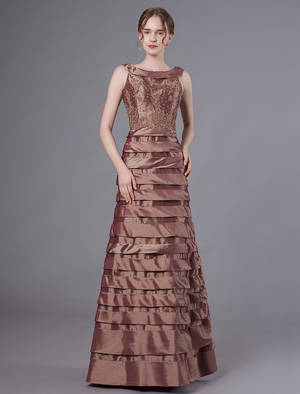 Abendkleider mit Rundkragen Hochzeit ärmellos langes Abendkleid Braun  Formelle Kleider Taft A-Linie- und Reißverschluss bodenlang stufig