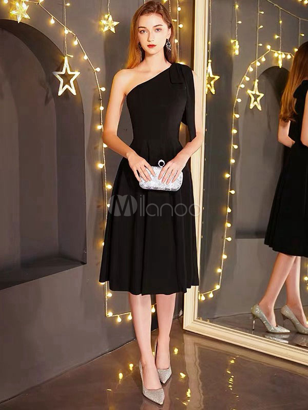 Little Black Dresses One Shoulder Wedding Guest Dress Short Cocktail