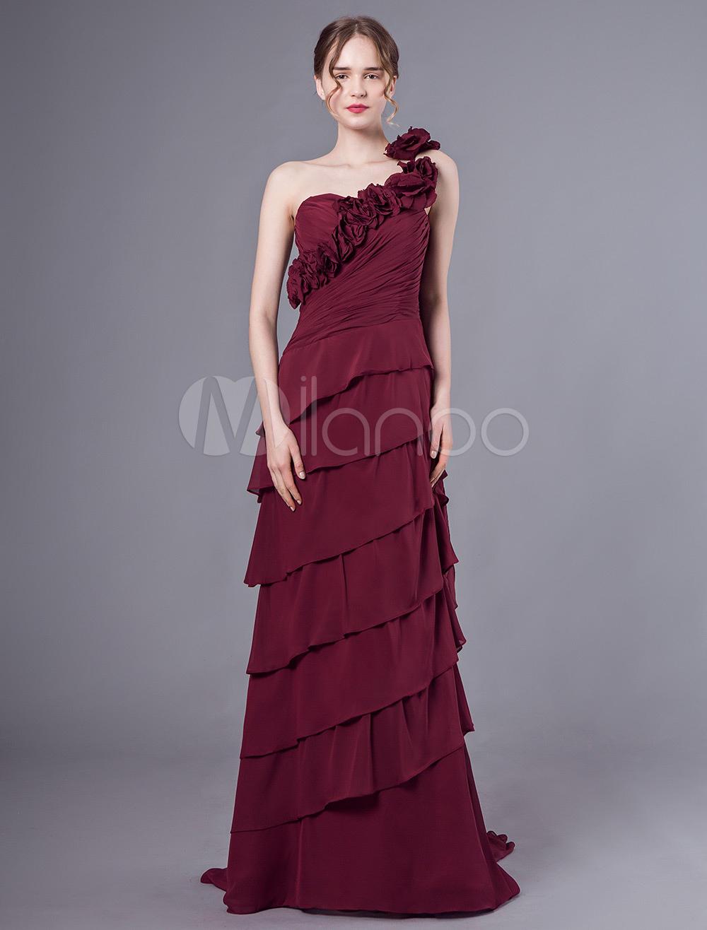 ballkleider rubin ball kleider chiffon hochzeit etui- abendkleider mit  court-schleppe einschulter ärmellos formelle kleider und schnürung 30cm
