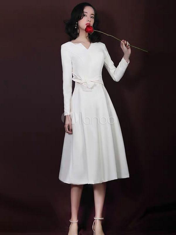 be6c444e6 Vestidos de coquetel Marfim Manga Longa De Cetim Sash Vestido Curto  Convidado Do Casamento-No ...