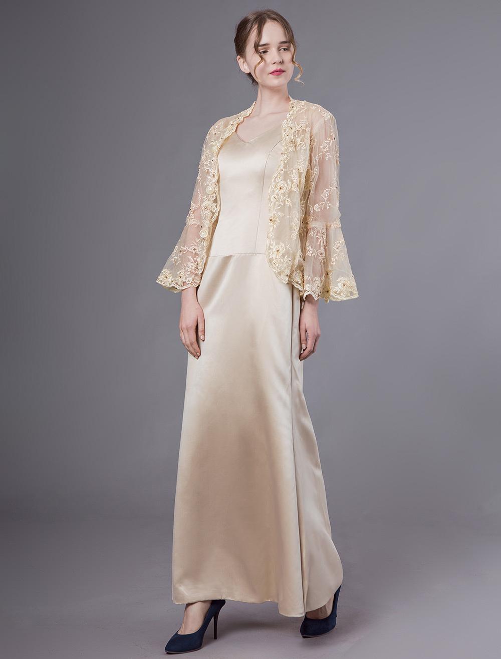 Brautmutterkleider Etui- Abendkleider für Hochzeit Spitze Champagner  Langarm viereckiger Ausschnitt knöchellang mit Reißverschluss