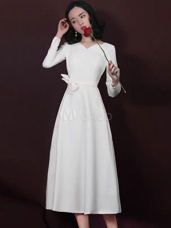 baa837176 ... Vestidos de coquetel Marfim Manga Longa De Cetim Sash Vestido Curto  Convidado Do Casamento-No ...