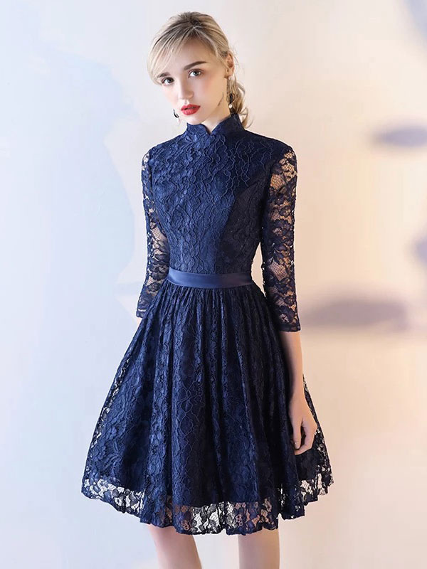 f4f3f3c6a Vestidos de formatura de renda curto meia manga vestido de festa de  formatura escuro da marinha ...