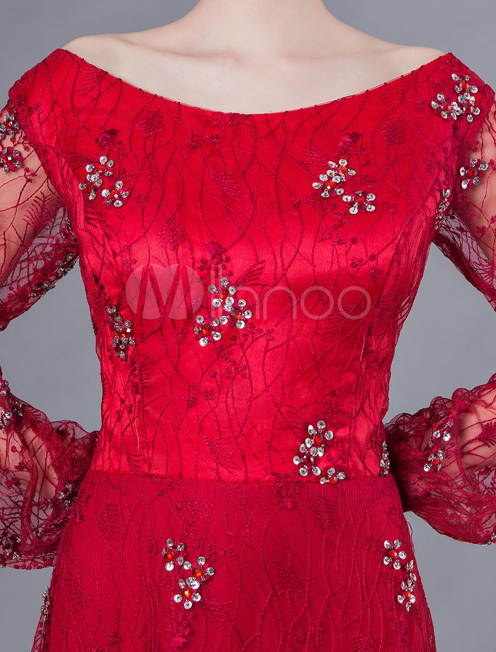 833999f20f91d ... ドレス長袖赤いレースのビーズの床の長さのフォーマルドレスの母 ...
