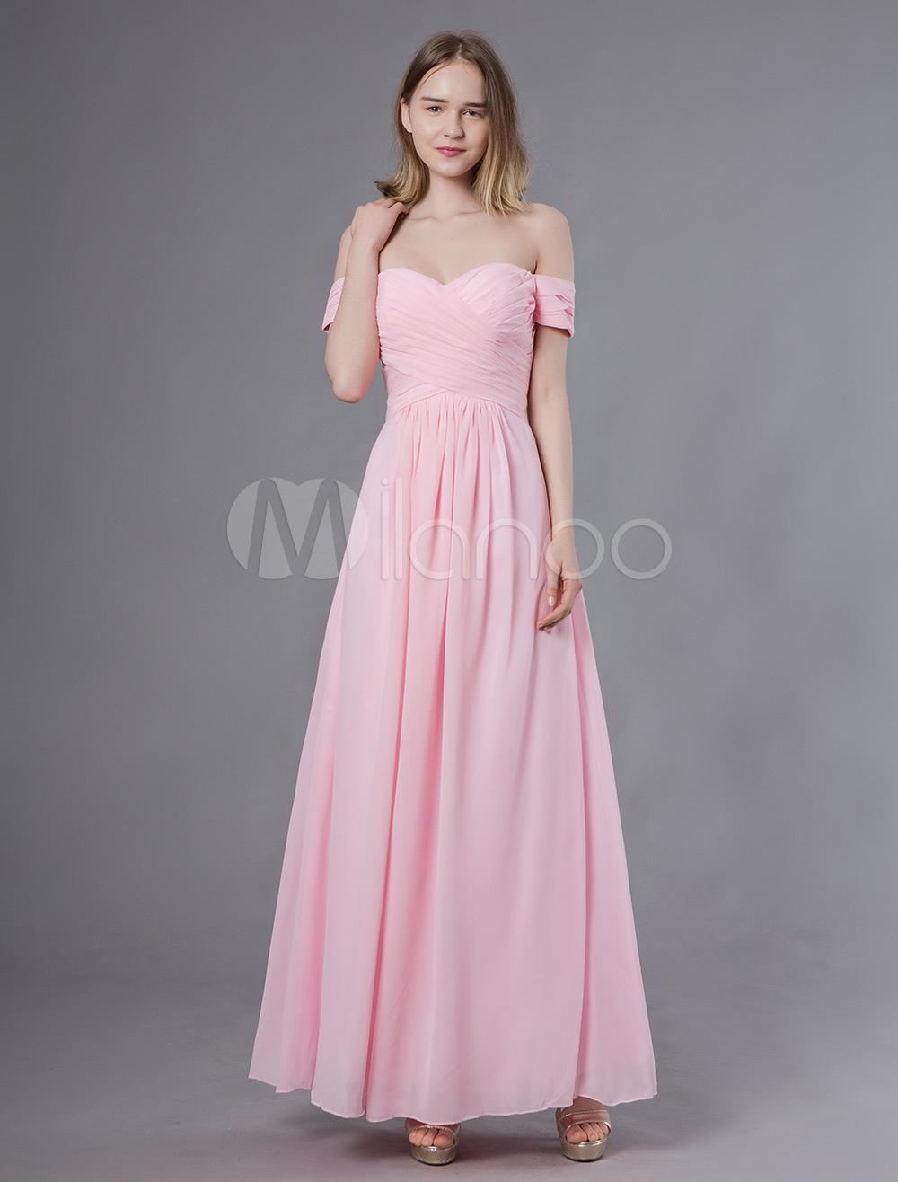 9f3b9ed49 Vestidos de dama de honra longo fora do ombro Soft PinkChiffon Maxi Wedding  Party Dress- ...