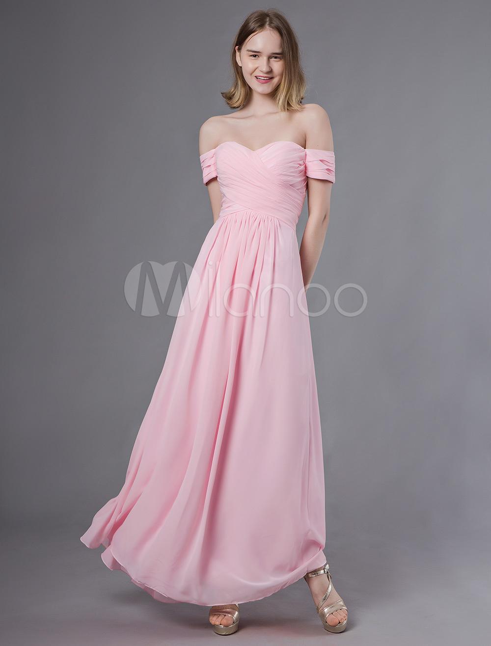 f97e4c3f2 ... Vestidos de dama de honra longo fora do ombro Soft PinkChiffon Maxi  Wedding Party Dress- ...