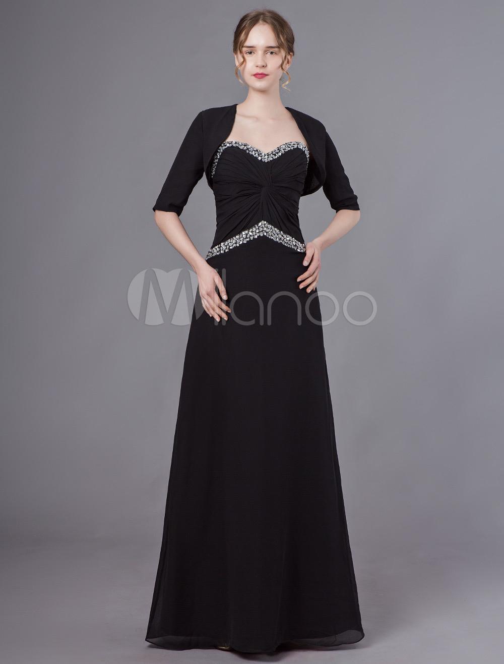 590bdd105b0 Mother Of The Bride Dresses Bolero Jacket Outfit Sweetheart Black Beaded  Chiffon Wedding Party Dress- ...