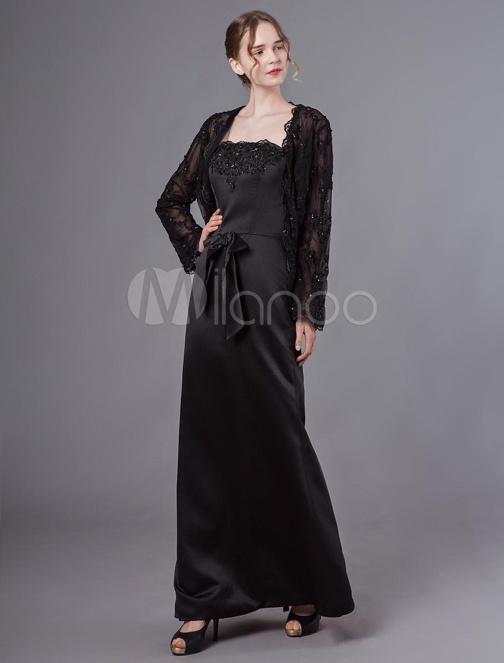 neues Konzept 4cb7e 8015c Schwarze Mutter der Braut Outfit Kleider Jacke Spitze Satin Bögen Maxi  Formale Kleider Set