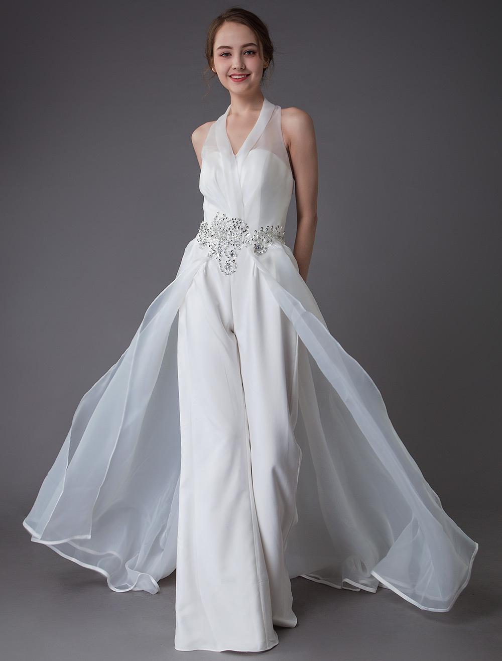 Ivory Wedding Jumpsuits Halter V Neck Rhinestones Backless Culottes Bridal Dress