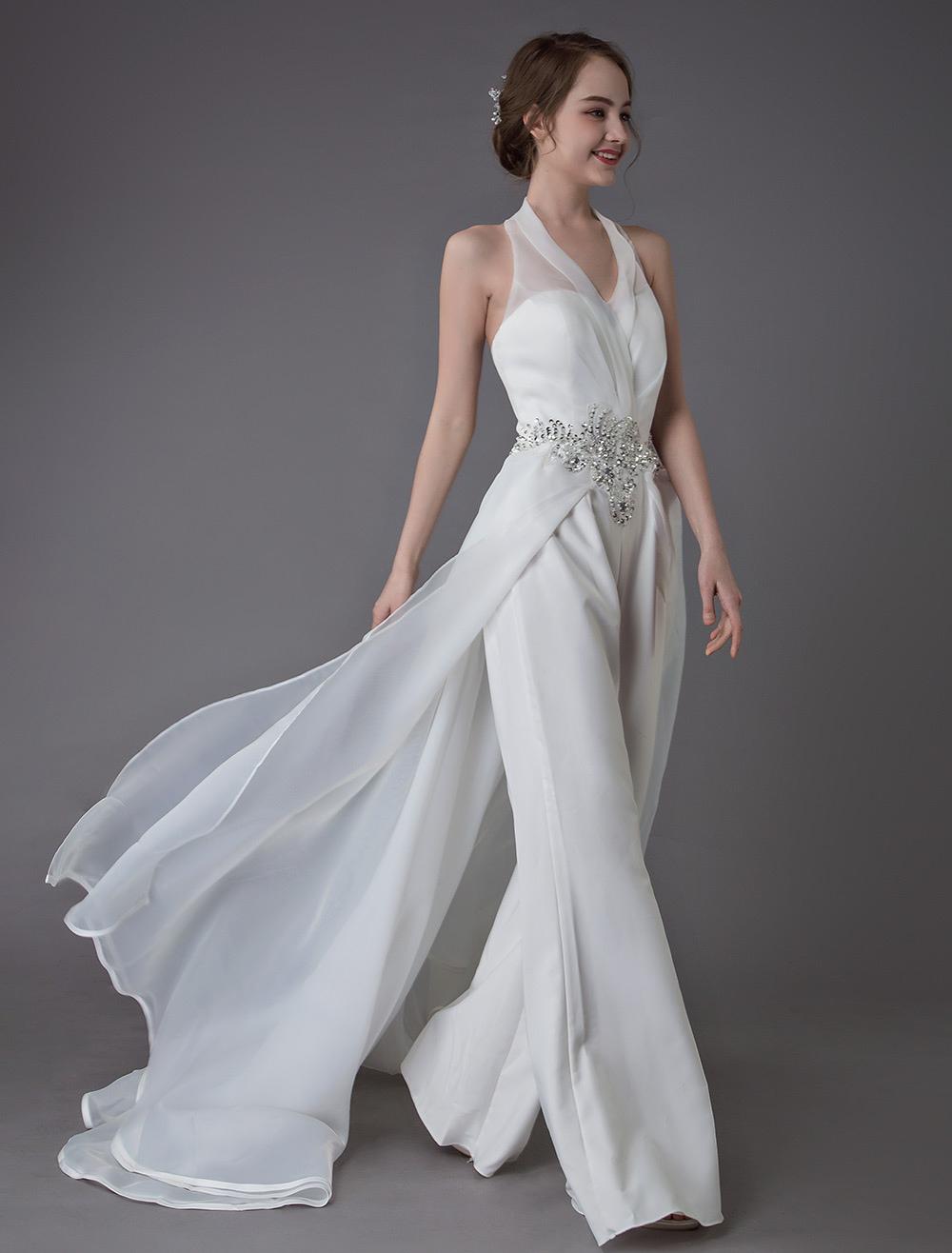 new style 36dc6 8c9e1 Elfenbein Hochzeit Jumpsuits Halfter V-Ausschnitt Strass Backless Culottes  Brautkleid