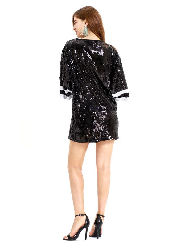 4d922a9a83d1 ... Hip Hop Dance Costume Sequin Number Glitter Black Oversized Dancing  Dress-No.3 ...