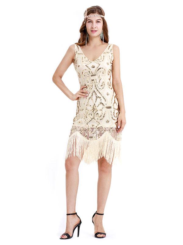 ba3a9839469 Apricot Flapper Dress V Neck 1920s Great Gatsby Dress Sequin Fringe Women  Vintage Costume Halloween