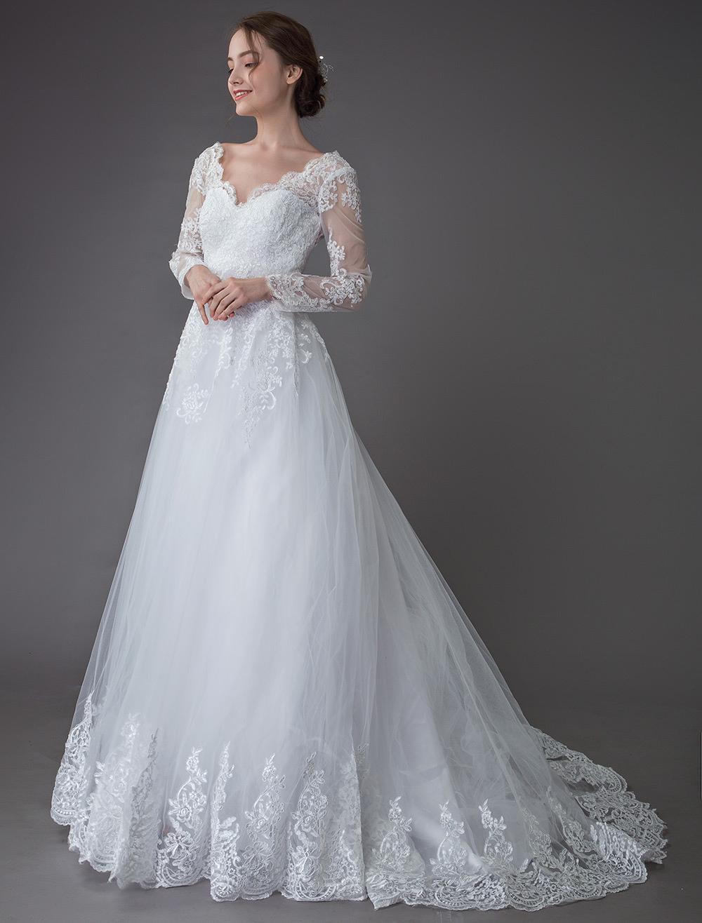 Lace Wedding Dresses Ball Gown V Neck Long Sleeve Backless Princess Bridal Dress Milanoo Com,Simple Long White Wedding Dress