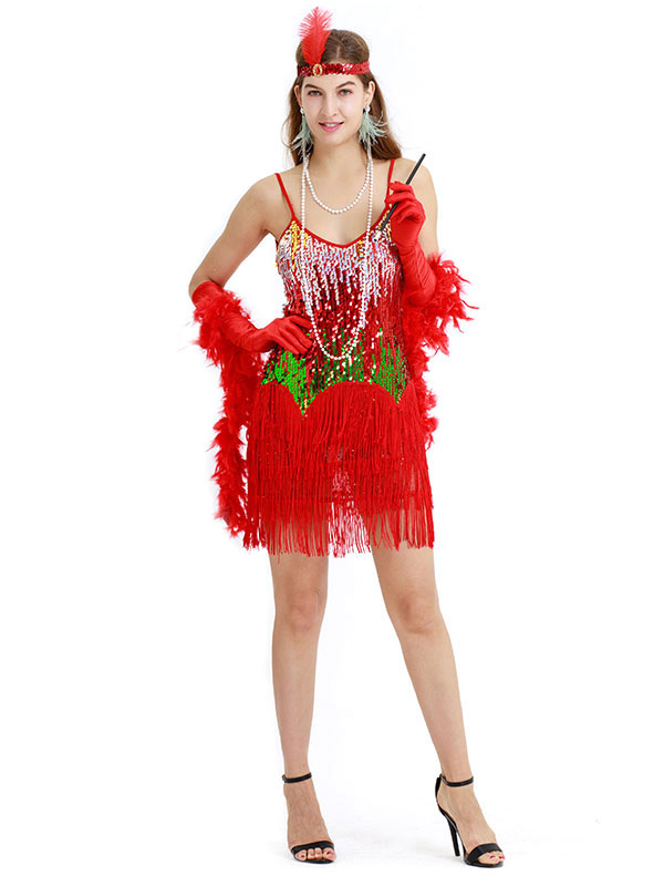 ae99f3c4e32fb 1920s Flapper Dress Red Sequin Fringe Great Gatsby Strap Women Vintage  Costume Dress-No.