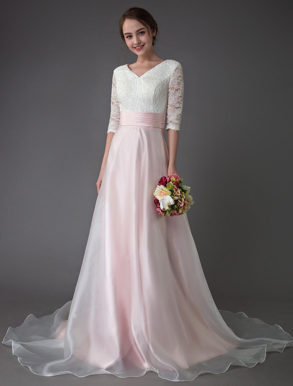 Vestidos De Noiva Rosa V Pescoço Meia Manga Plissada Uma Linha Vestido De Noiva Com Trem