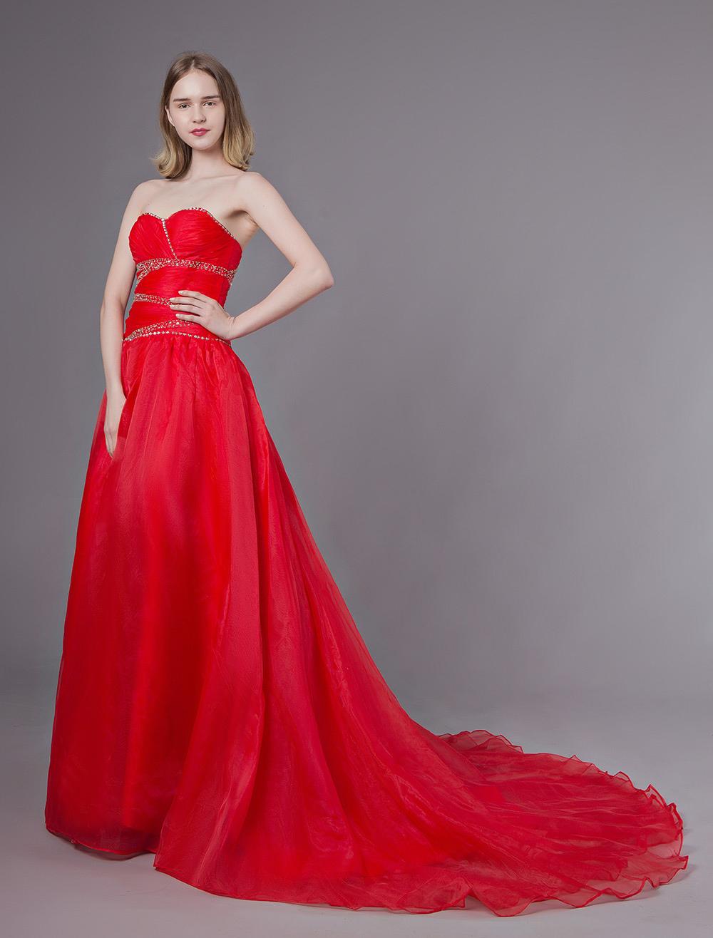 51df7308faa2 Abiti da sposa rossi Abiti da cerimonia senza spalline in organza con  perline senza spalline- ...