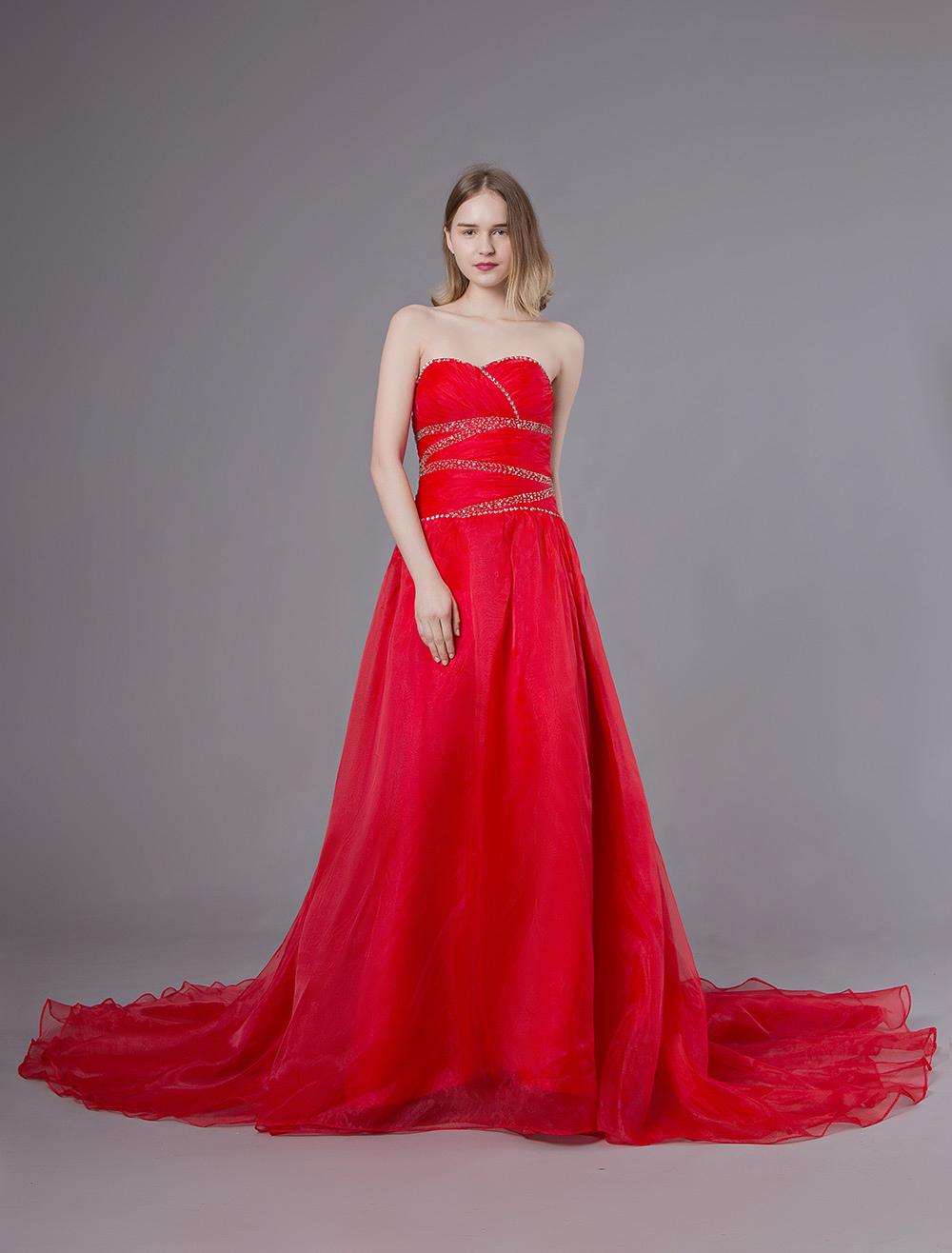 d3d0bd9d1c3c ... Abiti da sposa rossi Abiti da cerimonia senza spalline in organza con  perline senza spalline- ...