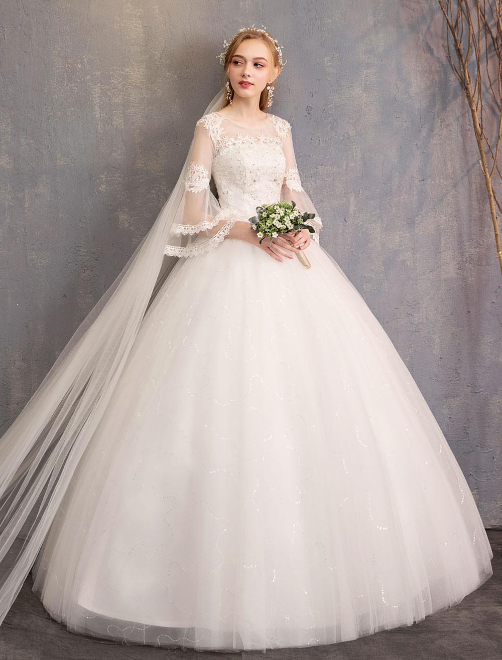 e6931f83c Vestido de gala Vestidos de novia Joya de tul Manga 3/4 Longitud del piso  Longitud Princesa Vestido de novia