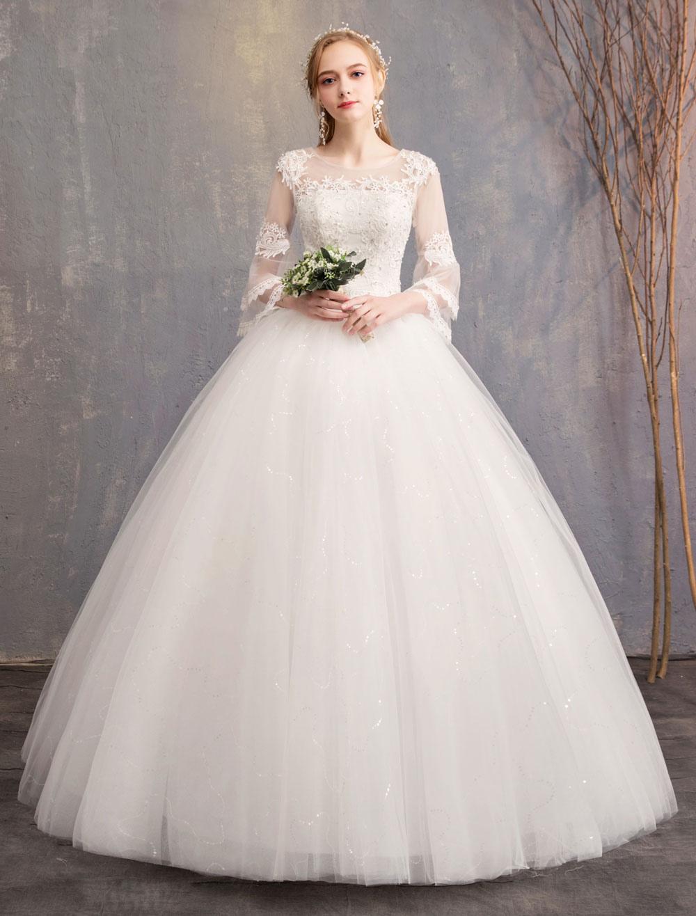 5276d05f69c8b0 ... Vestido de baile Vestidos de casamento Tulle Jewel 3/4 Comprimento  Manga Até o Chão ...
